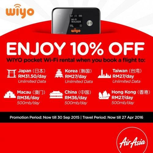 WIYO Pocket WiFi : Promosi Diskaun 10% Dengan AirAsia