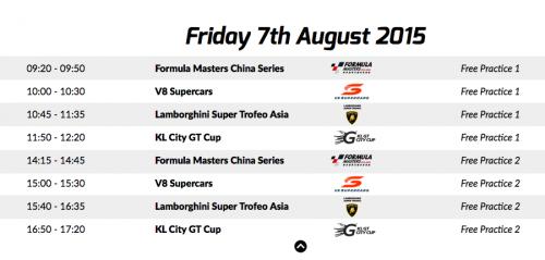 KL City Grand Prix 2015 Schedule