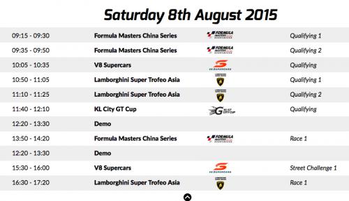 KL City Grand Prix Schedule Saturday