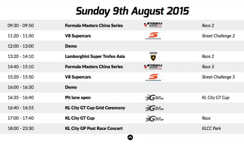 KL City Grand Prix Schedule Sunday