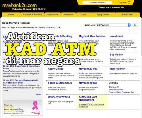 Langkah dan Cara Aktifkan Kad ATM Maybank Di Luar Negara