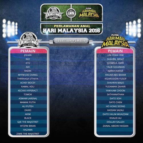 Gambar Perlawanan Dugong All Star vs Pilihan Harimau Malaysia