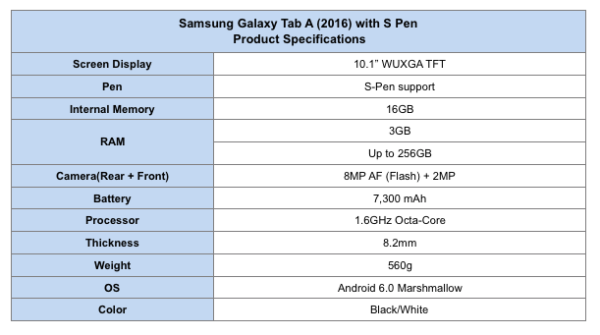 Samsung Galaxy Tab A (2016) with S Pen Product Specifications