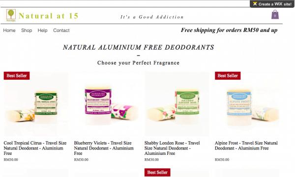 natural at 15 deodorant