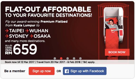 Promosi Premium Flatbed All-In-Fare Dari RM659 Taipei Wuhan Sydney Osaka