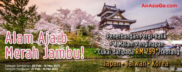 Promosi Murah AirAsiaGo Musim Sakura Bawa Anda Ke Jepun Taiwan Korea