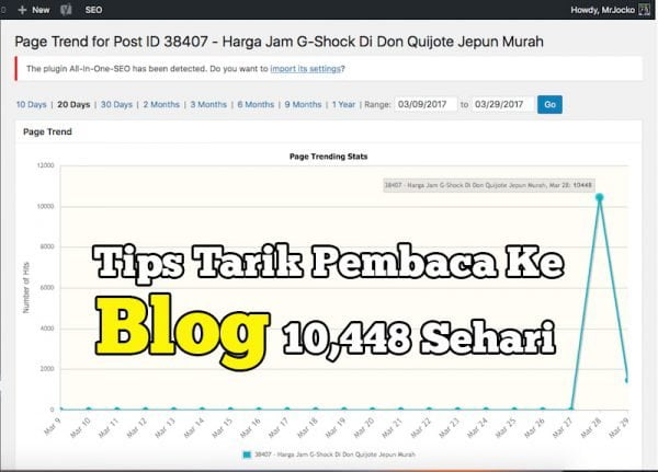 Tips Tarik Pembaca Ke Blog 10448 Visitors Sehari