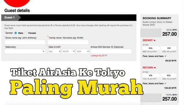 Harga Tiket AirAsia Ke Jepun Pergi Balik Paling Murah RM257