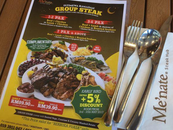 Review Berbuka Puasa Di Menate Steak Hub Pakej Group Steak