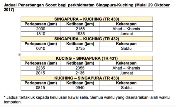 jadual penerbangan scoot air singapore