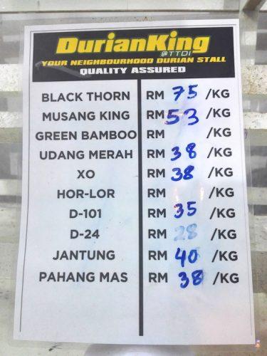 Harga terkini di Durian King TTDI