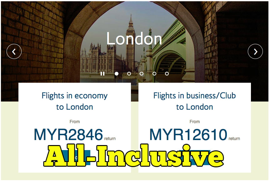 Tambang All Inclusive British Airways UOB Malaysia