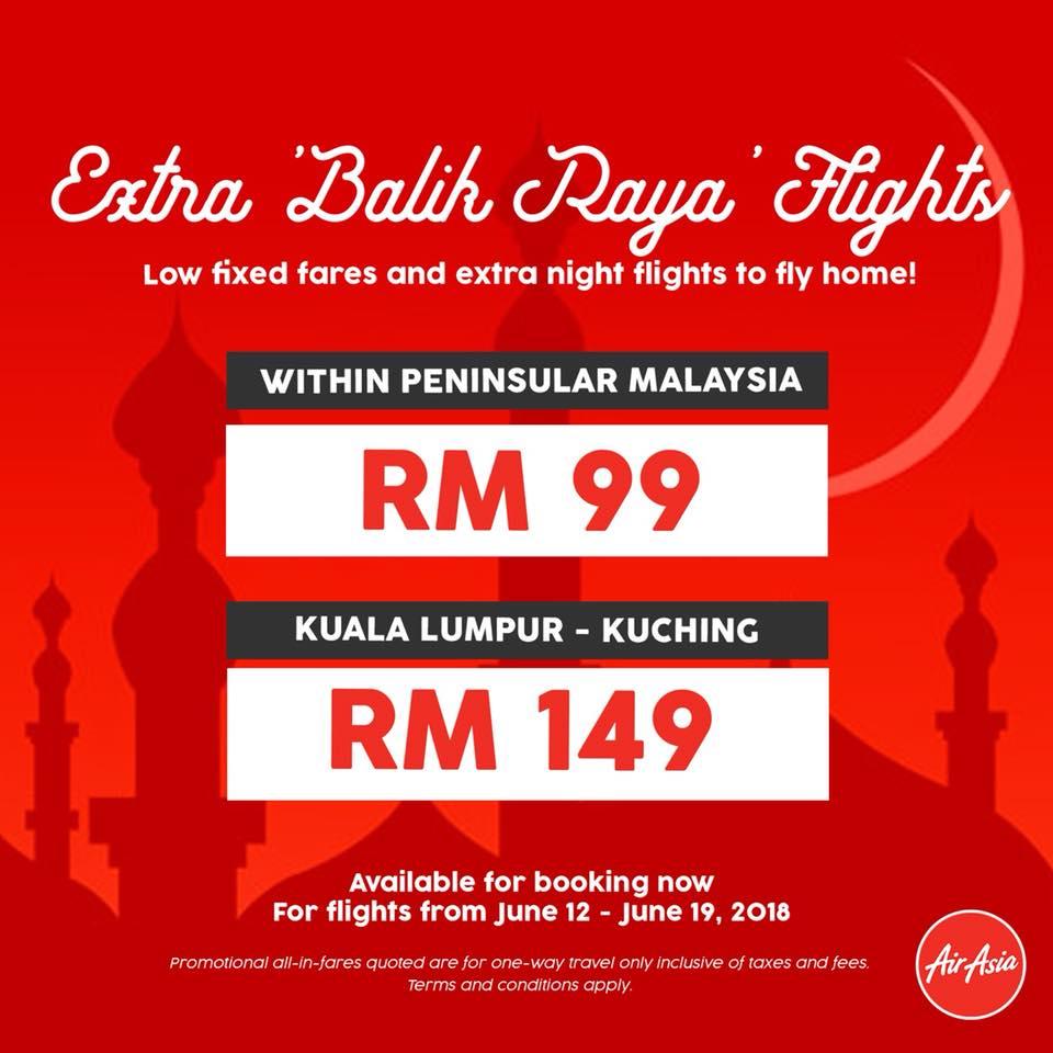 Harga Promosi Tiket AirAsia Balik Raya RM99