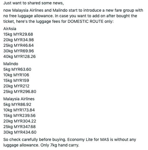 Berapa Elaun Bagasi Percuma Malaysia Airlines MAS