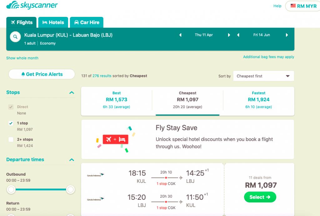 harga tiket klia ke bandar udara komodo