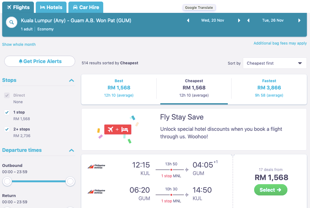 Flight Ticket Kuala Lumpur Guam USA