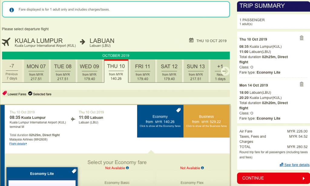harga tiket KLIA Labuan Malaysia Airlines