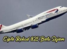 British Airways Boeing 747 Cipta Rekod Kelajuan 825